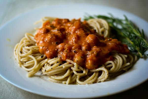 Pasta with chickpea-vodka sauce