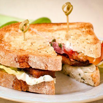 Tempeh Bacon Lettuce Tomato Sandwich