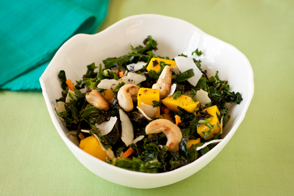 Raw Kale Mango Coconut Salad