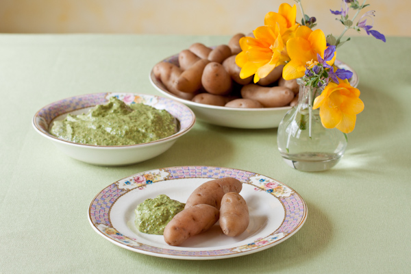 Fingerling Potatoes with Pesto Dipping Sauce