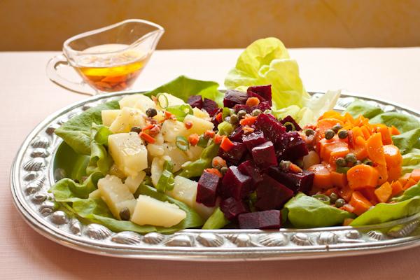 Potato-beet-carrot-pickle salad