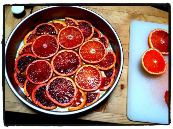 Blood orange slices arranged in the bottom of the pan