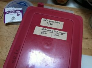 Top of the container of tofu misozuke, dated and labelled