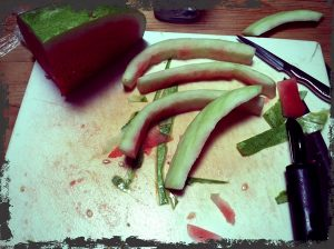 Peeling the watermelon rind