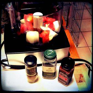 Soy-free vegan chorizo in process