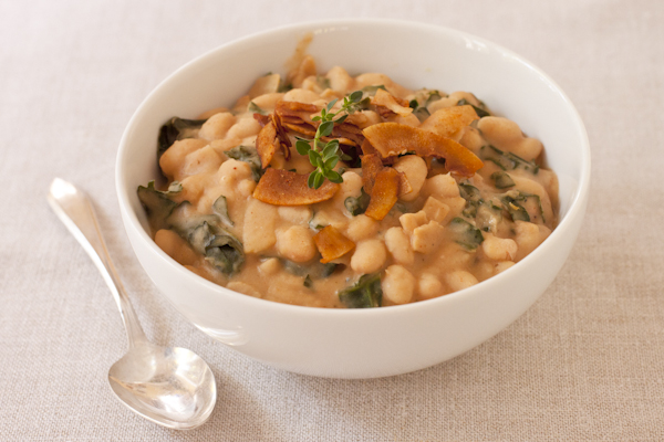 White Bean & Kale Soup with Coconut Bacon