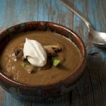 Creamy Spinach & Mushroom Soup with vegan creme fraiche