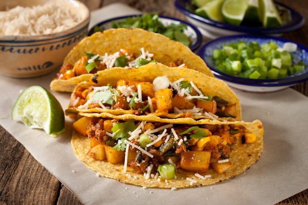 Potato Poblano Chorizo Tacos