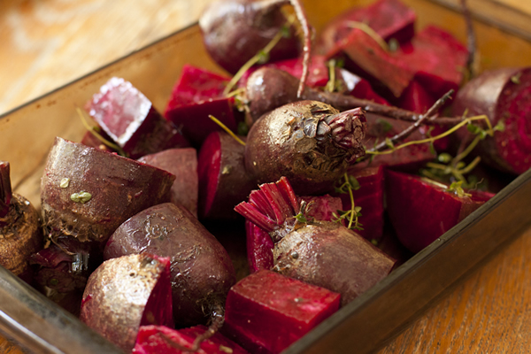 Beets and Thyme Before Roasting | Recipe Renovator