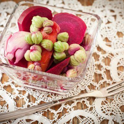 Pickled nasturtium seeds with beets