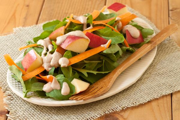 Arugula Apple Salad Walnut-miso dressing