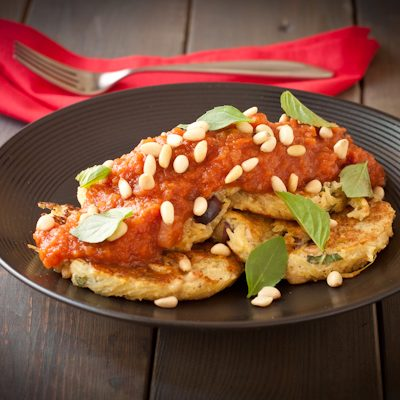 Spaghetti Squash Fritters with Hearty Tomato Sauce from Recipe Renovator | Gluten-free & Vegan