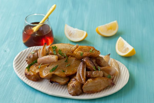 Honey Roasted Sunchokes with Shallots and Meyer Lemon from Recipe Renovator