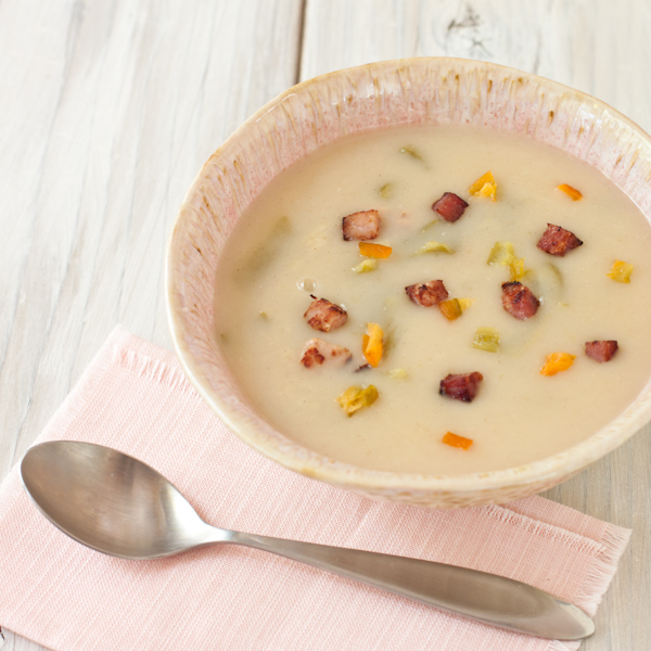 Creamy Potato Soup with Ham & Hatch chiles | paleo, gluten-free, dairy-free | Recipe Renovator