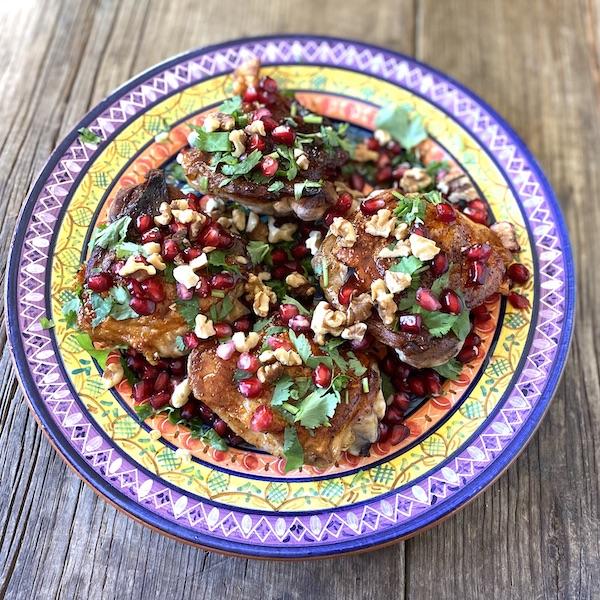 Pomegranate-glazed chicken thighs