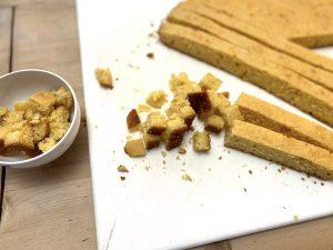 Cubed low-sodium cornbread